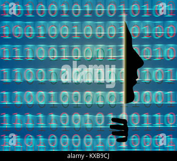 web secutity with binary code and human profile - Stock Photo