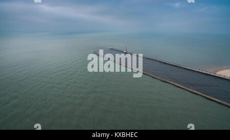 Aerial view of Lake Michigan in St.Joseph Michigan on a cold dreary and overcast day - Stock Photo