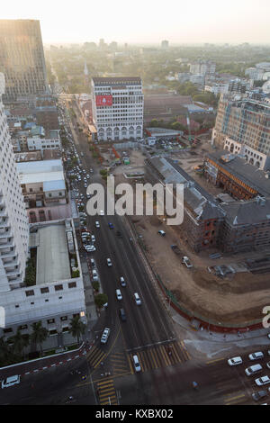 Buildings along the Bo Gyoke Road and downtown in Yangon (Rangoon), Myanmar (Burma), viewed from above on a sunny - Stock Photo