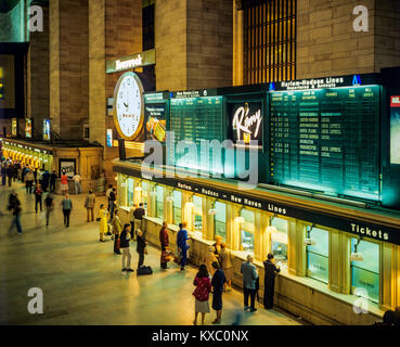 May 1982,New York,Grand Central Terminal train station,main concourse,tickets windows,Manhattan,New york City,NY,NYC,USA, - Stock Photo