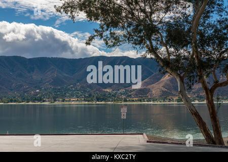 Waterside view of Lake Elsinore in California - Stock Photo