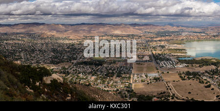 Panorama of Lake Elsinore in California - Stock Photo