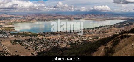Panorama of Lake Elsinore in California - Stock Photo