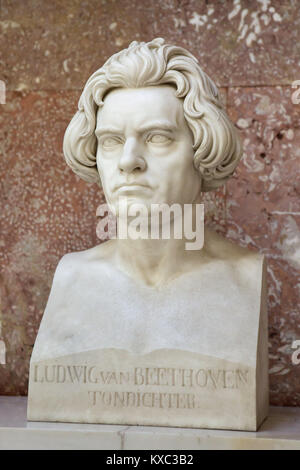 German composer Ludwig van Beethoven. Marble bust by German sculptor Arnold Hermann Lossow (1866) after design by - Stock Photo