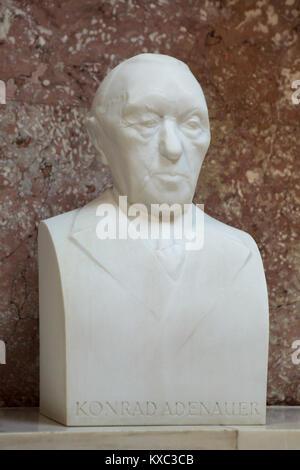 German statesman Konrad Adenauer. Marble bust by German sculptor Gerhard Weiland (1999) on display in the hall of - Stock Photo