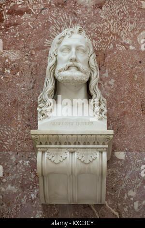 German Renaissance painter and printmaker Albrecht Dürer. Marble bust by German sculptor Christian Daniel Rauch - Stock Photo