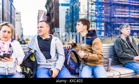 New York City, USA - October 27, 2017: Highline, high line, urban garden in NYC with closeup of family people tourists - Stock Photo