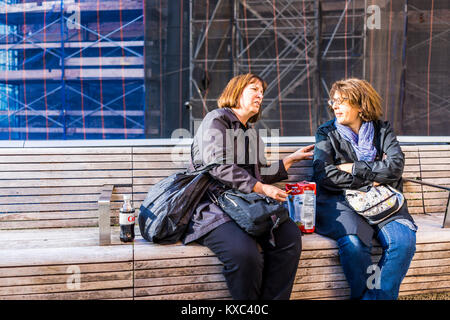 New York City, USA - October 27, 2017: Highline, high line, urban garden in NYC with closeup of friends local people - Stock Photo