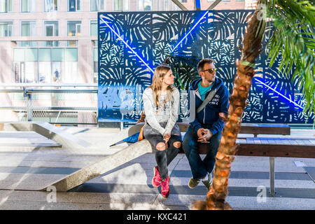 New York City, USA - October 27, 2017: Highline, high line, urban garden in NYC with closeup of couple two people - Stock Photo