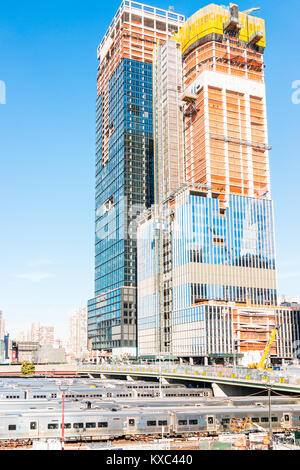 New York City, USA - October 27, 2017: View of the Hudson Yards train depot and building development from the High - Stock Photo