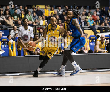 Turin, Italy. 07th Jan, 2018. Andre Jones (Fiat Torino Auxilium) during the Serie A Basketball Match Fiat Torino - Stock Photo