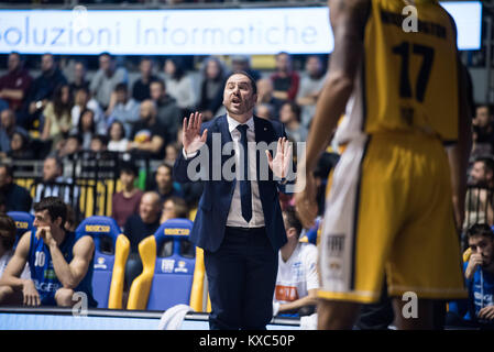Turin, Italy. 07th Jan, 2018. Andrea Diana during the Serie A Basketball Match Fiat Torino Auxilium vs Basket Brecia - Stock Photo