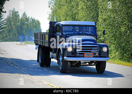 KOSKI TL, FINLAND - JULY 26, 2014: Classic Volvo N84 truck on the road. With N84, Volvo introduced its 'System 8' - Stock Photo