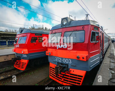 St Petersburg, Russia - Oct 7, 2016. Local trains at railway station in Saint Petersburg, Russia. Saint Petersburg - Stock Photo