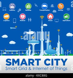 smart city conceptual illustration with various technological icons, futuristic cityscape and modern lifestyle, - Stock Photo