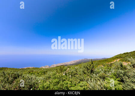 View of Calheta from the mountains above the town in Madeira, Portugal. - Stock Photo