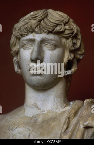Antinous (111-130). Bithynian Greek youth and a favourite of emperor Hadrian. From Eleusis, Greece. Archaeological - Stock Photo