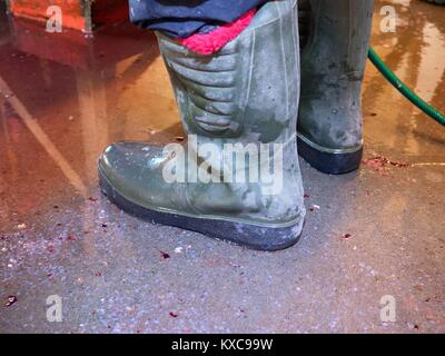 Dirty rubber boots on bloddy water floor. Fish slaughterhouse or butchery . Marble floor and ground pressure washing - Stock Photo