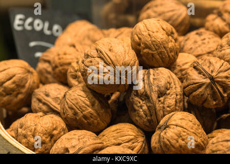 Whole Walnuts (Juglans regia) at La Boqueria market, La Rambla, Barcelona, Catalonia, Spain. - Stock Photo
