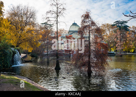 Spain, Madrid, Retiro Park created in the seventeenth century, the Crystal Palace designed by Ricardo Velasquez - Stock Photo
