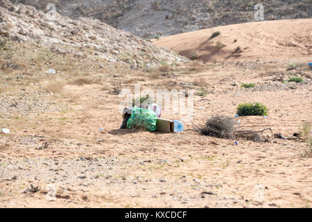 Garbage left in Desert (plastic bag, plastic bottles, cartoons and other detritus) Stock Photo