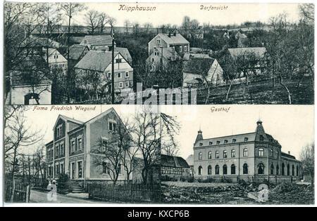 20209-Klipphausen-1916-Ortsansicht und Gasthof-Brück & Sohn Kunstverlag - Stock Photo