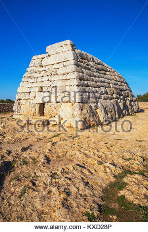Naveta or megalithic tomb at the site of Es Tudons, Menorca, Balearic Islands, Spain, Europe - Stock Photo
