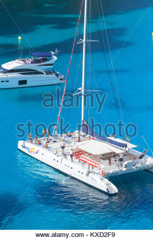 Sailboats anchored at Cala Macarella, Menorca, Balearic Islands, Spain, Europe - Stock Photo