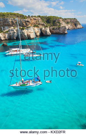 View of Cala Macarella and sailboats, Menorca, Balearic Islands, Spain, Europe - Stock Photo