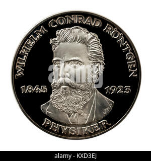 99.9% Proof Silver Medallion featuring Wilhelm Conrad Röntgen, the famous German inventor of X-rays. - Stock Photo