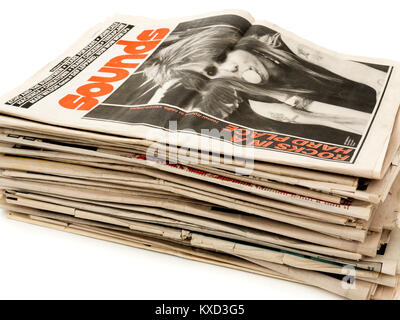 Collection of vintage British 'Sounds' weekly music newspapers from 1983. - Stock Photo