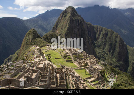 High angle view of old ruin against mountains - Stock Photo