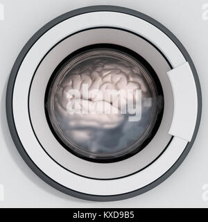 Brain being washed in washing machine. 3D illustration. - Stock Photo