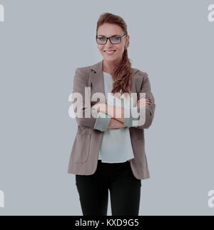 Portrait of young happy smiling businesswoman isolated against w - Stock Photo