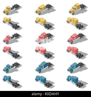 American trucks isometric low poly icon set vector graphic illustration design - Stock Photo