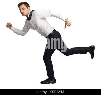 running  businessman side view isolated on white background - Stock Photo