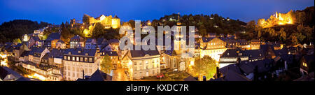 City panorama with Monschau Castle and the fortification of Haller in the twilight,Monschau,Eifel,North Rhine-Westphalia - Stock Photo