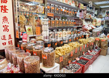 HONG KONG - MARCH 19: Glocery Store at Wing Lok Street on March, 19, 2013. Wing Lok street is a very popular shopping - Stock Photo