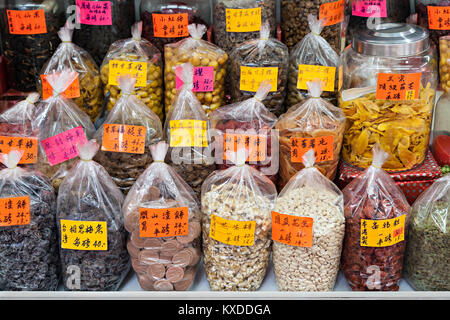 HONG KONG - MARCH 19: Dry fruits in the glocery store at Wing Lok Street on March, 19, 2013. Wing Lok street is - Stock Photo