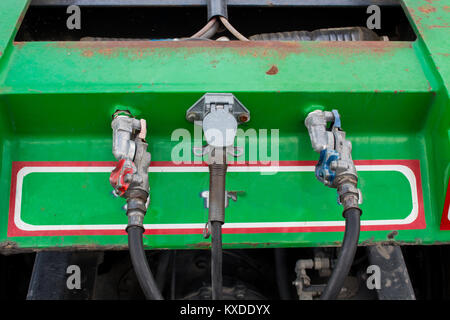 Electric connection to vehicle trailer truck - Stock Photo