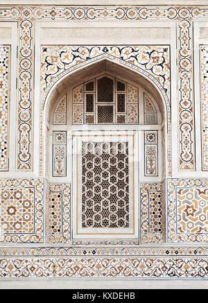 AGRA, INDIA - APRIL 09: Pattern on Taj Mahal on April 09, 2012 in Agra, India. Taj Mahal is widely recognized as - Stock Photo