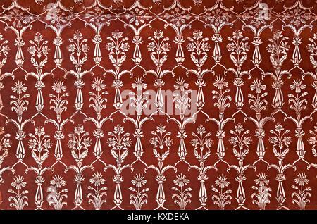 AGRA, INDIA - APRIL 10: Pattern on Taj Mahal on April 10, 2012 in Agra, India. Taj Mahal is widely recognized as - Stock Photo