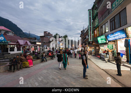 MANALI, INDIA - SEPTEMBER 21: Mall Street is a main street in Manali on September 21, 2013, Manali, India. Manali - Stock Photo