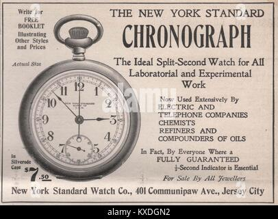 'The New York Standard Chronograph – New York Standard Watch Co, 401 Communipaw Ave., Jersey City' - Stock Photo