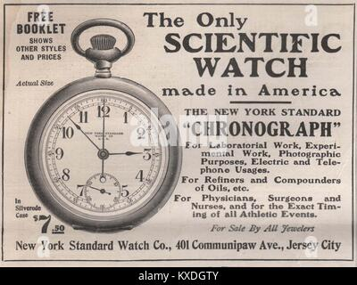 'The only Scientific watch' made in America the New York Standard 'Chronograph' - New York standard watch Co., 401 - Stock Photo