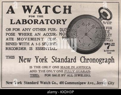 'A Watch for Laboratory' New York standard Chronograph - New York standard watch Co., 401 Communipaw Av., Jersey - Stock Photo