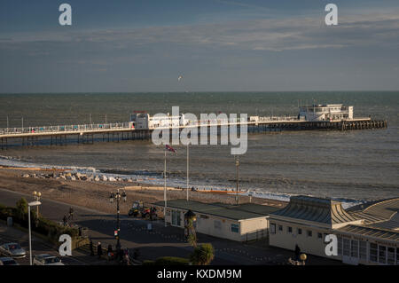 Worthing pier from the seafront multi-storey car park, West Sussex, UK - Stock Photo