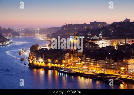 View over the Douro River to Ribeira, Porto, Region Norte, Portugal - Stock Photo
