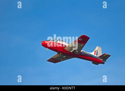 BAC Jet Provost T5A based at Inverness airport can be hired with pilot for trips unto an hour. - Stock Photo