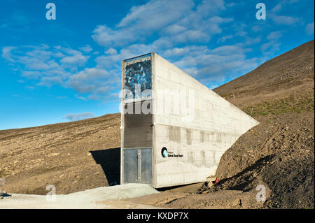 Entrance, Svalbard Global Seed Vault, Worldwide seed vault, at Longyearbyen, Spitsbergen, Svalbard, Norway - Stock Photo
